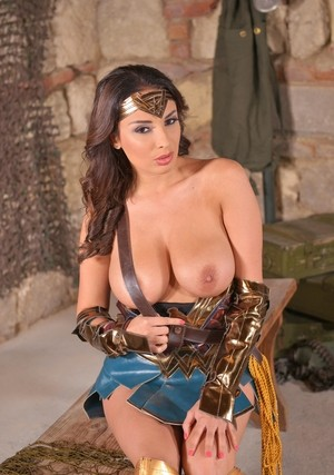 Stunning cosplay chick Anissa Kate frees her big tits & masturbates closeup