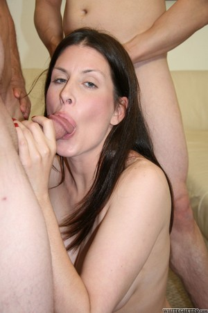 Hot MILF with big ass Trisha Sterling gangbanged by four simple guys