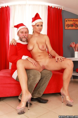Christmas fucking action of Czech MILF with big tits Alexa Bold and older man