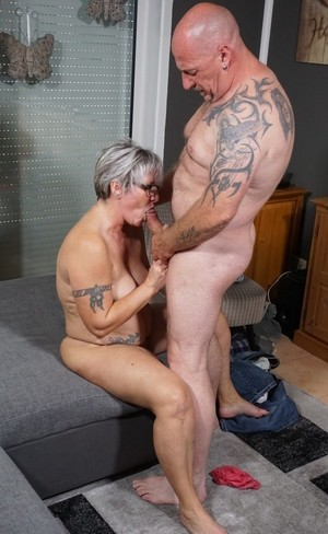 Chubby German granny strips off jeans to pleasure hubby with blowjob  bang