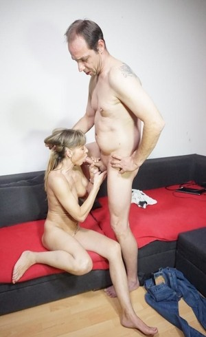 Slender mature German wife sucks hard cock  gets boned on the couch