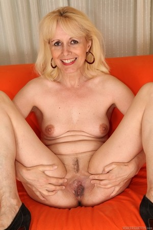 Hot mature Koko Blond disrobes to spread shaved pussy & take BBC deep inside