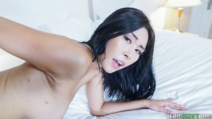 Raven-haired Asian Honey Moon sucking a big cock and getting obliterated