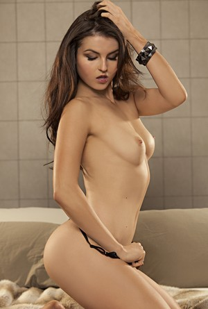 Scorching Czech centerfold model Veronica LaVery shows small natural tits nude