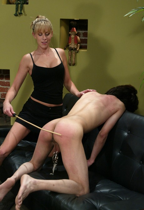 Femdom ball squeezing spanked naked