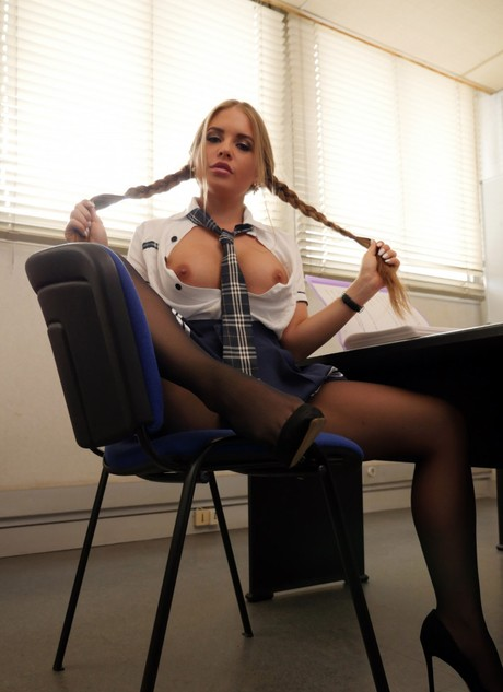 Principal drills pussy of Russian student Alessandra Jane in office